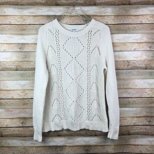 Old Navy • Cozy Cable Knit Cream Sweater Pointelle